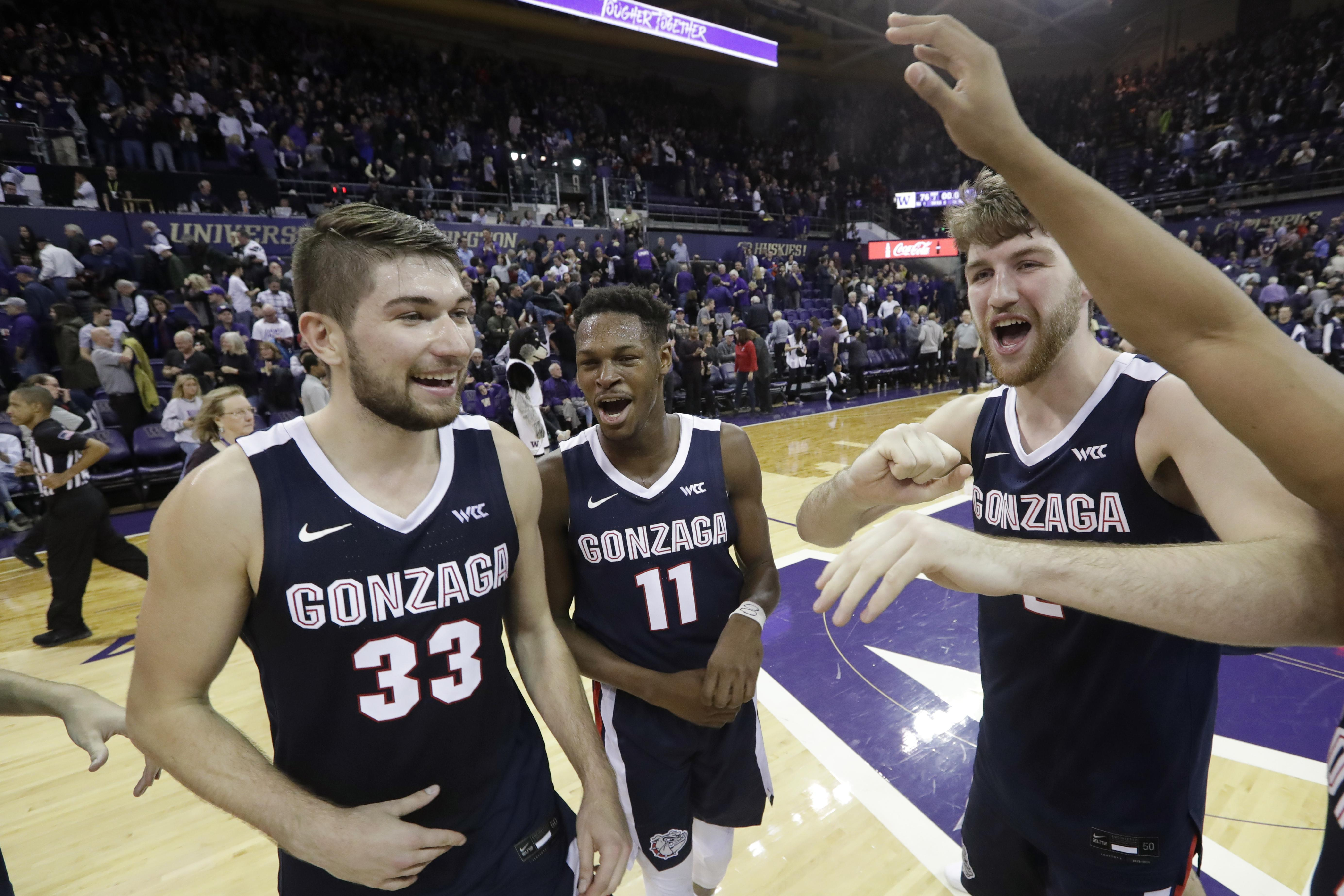 Killian Tillie played very well, and he and Joel Ayayi made big threes down the stretch to help Gonzaga get the overtime victory over Washington.  (Photo: Elaine Thompson/Associated Press via The Spokesman-Review.)