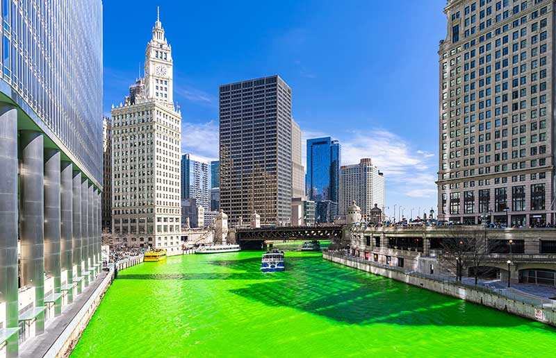 River in Chicago dyed green for St. PAtrick's Day