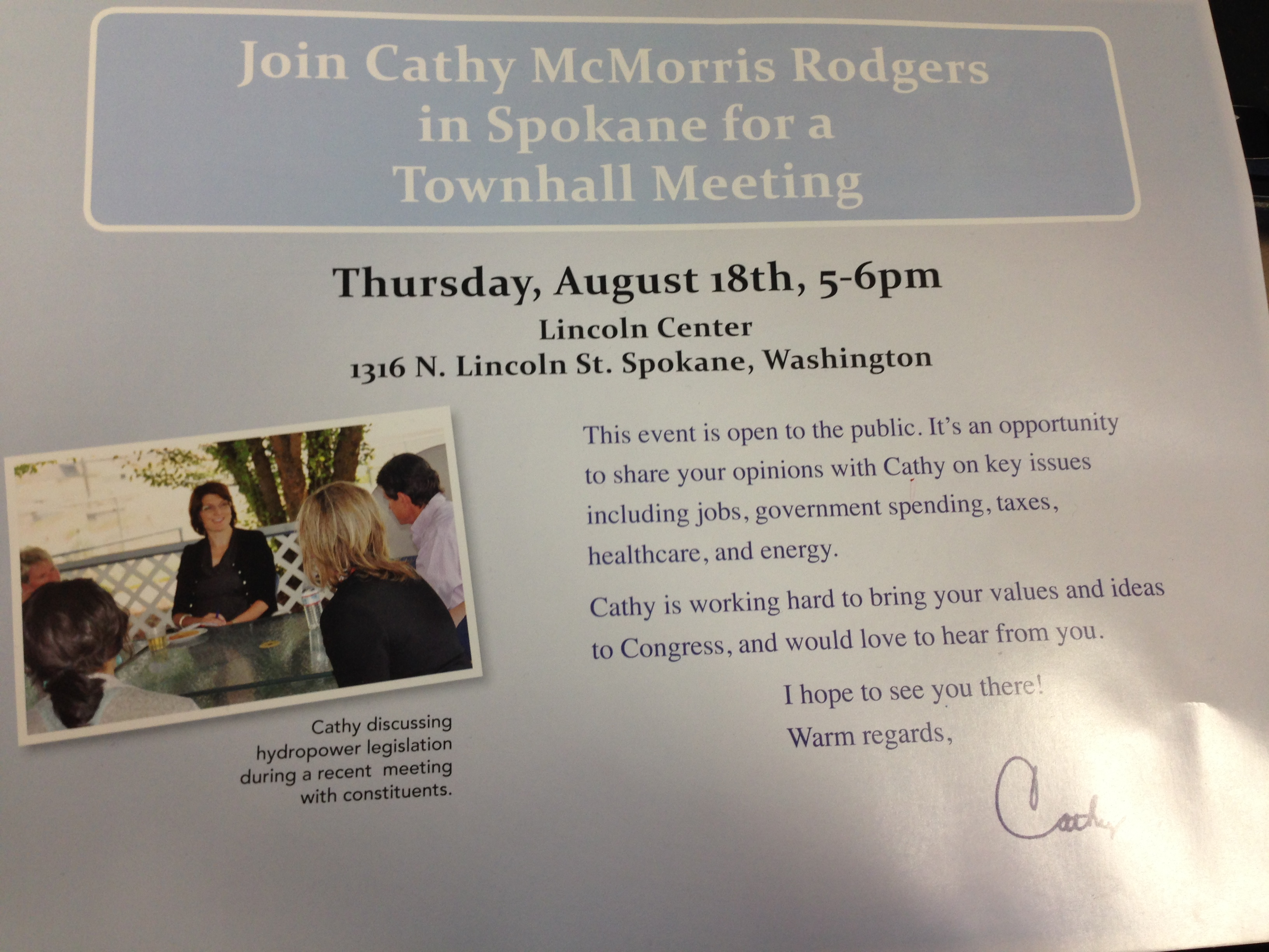 A Cathy McMorris Rodgers mailer lists the wrong date for a town hall meeting