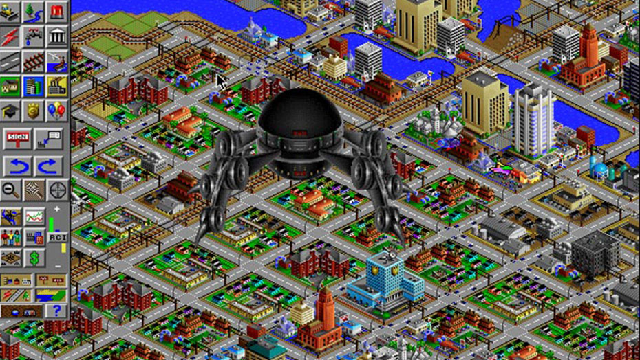 A UFO attacks a SimCity