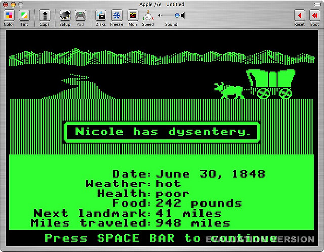 Nicole has dysentery in Oregon Trail