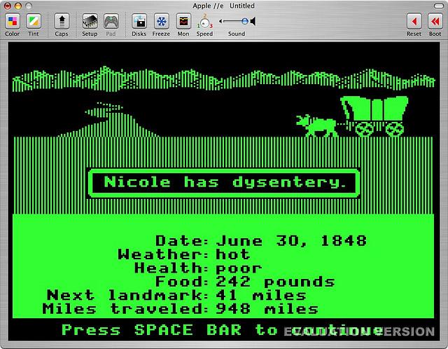 Nicole has dysentery in Oregon Trail