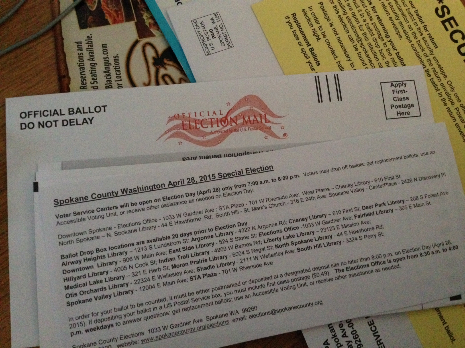 Ballot for April 2015 special election