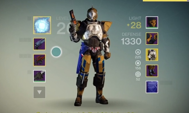 A view of the Destiny character screen.