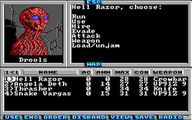 "Screenshot of post-apocalyptic game ""Wasteland"""