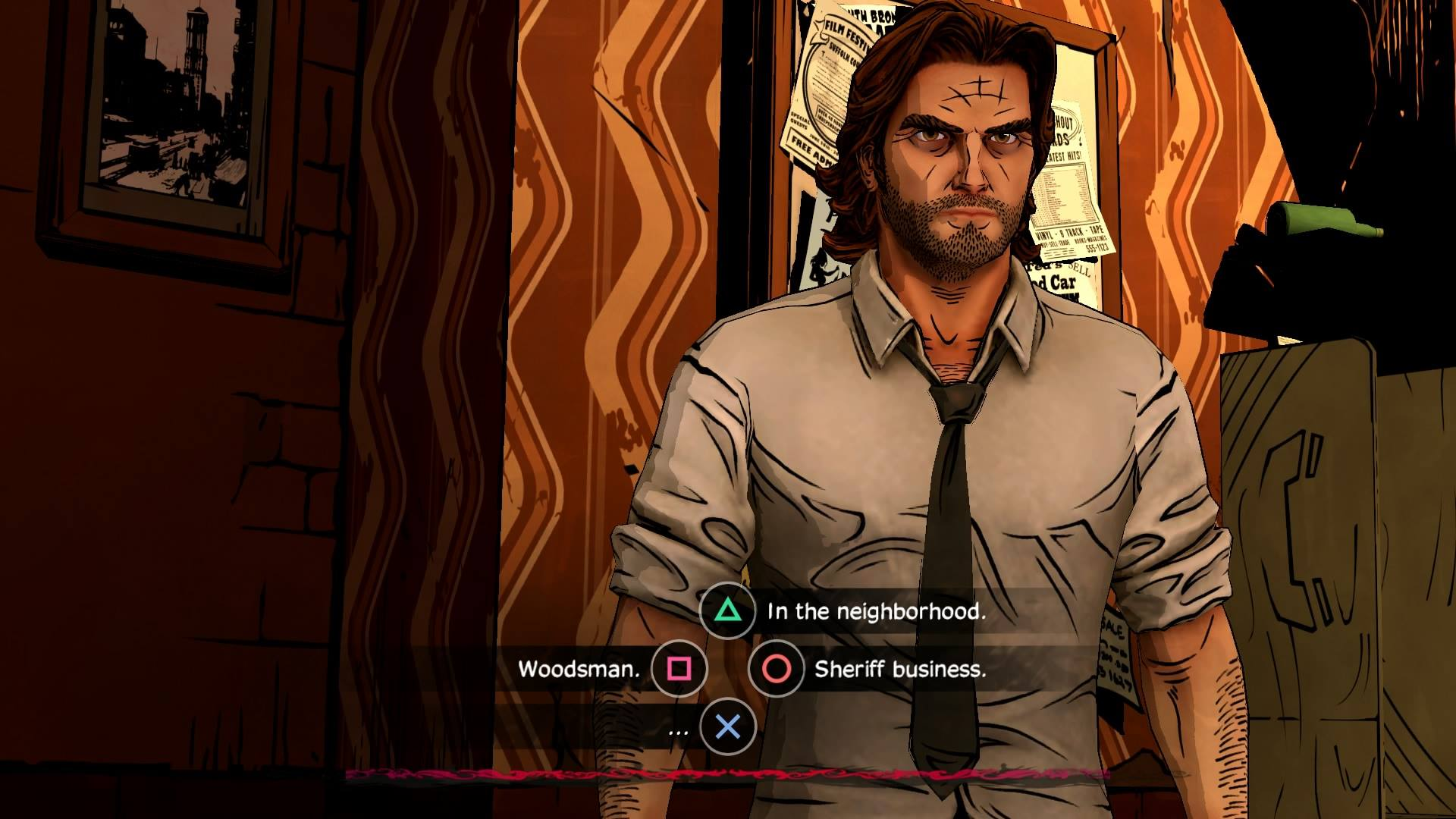 An in-game screenshot of The Wolf Among Us for PS4