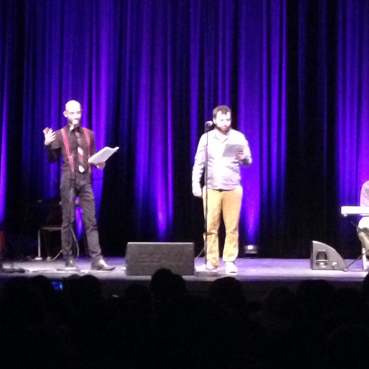 Cecil Baldwin and Joseph Fink on stage at the Bing Theater