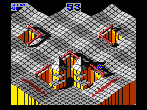 """A screenshot of """"Marble Madness"""""""
