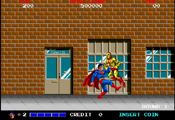 A screenshot of the Superman arcade game