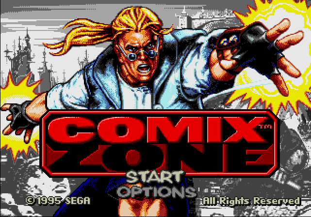 Title screen of Comix Zone, a side-scrolling beat 'em up