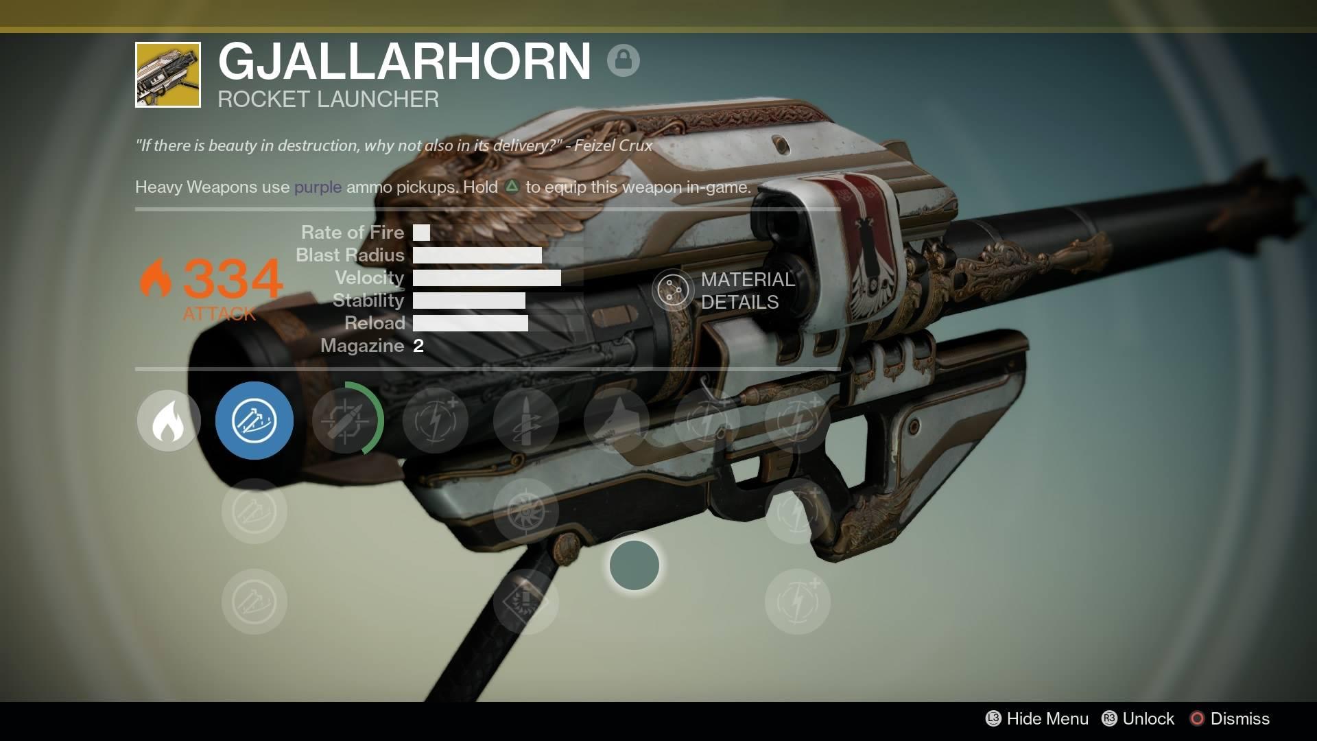 An in-game screenshot of Gjallarhorn, a rocket launcher in Destiny