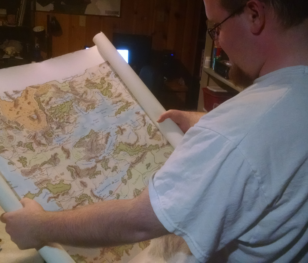 Reading a map of the continent of Faerun