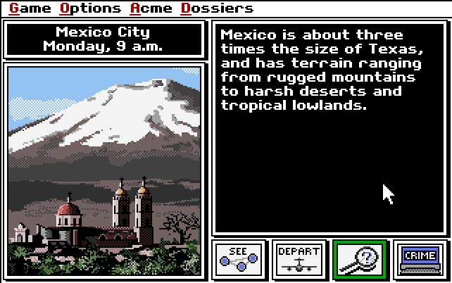 A screenshot of 1989's Carmen San Diego video game