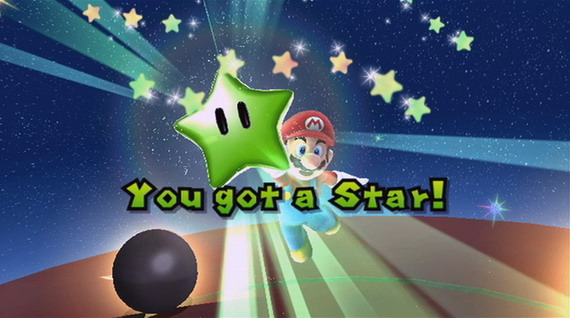 Capturing a green star in Super Mario Galaxy