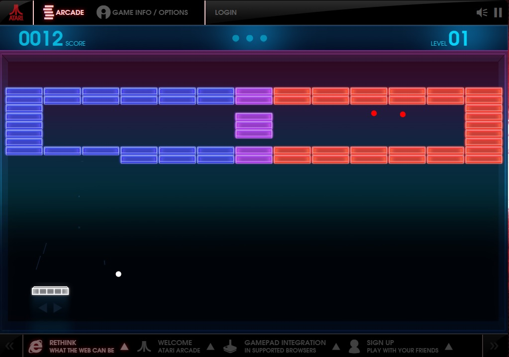 A screenshot of Breakout, the in-browser version from Atari