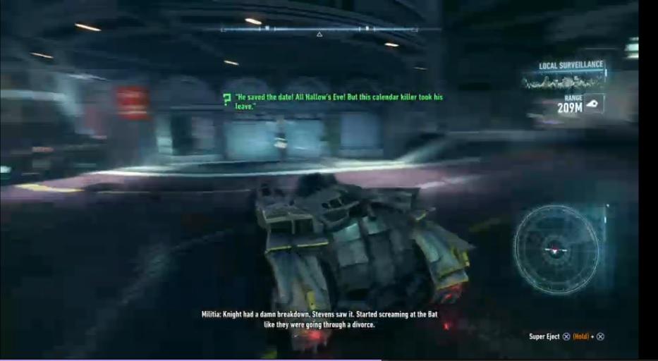 "A screenshot of the Batmobile in ""Arkham Knight"""