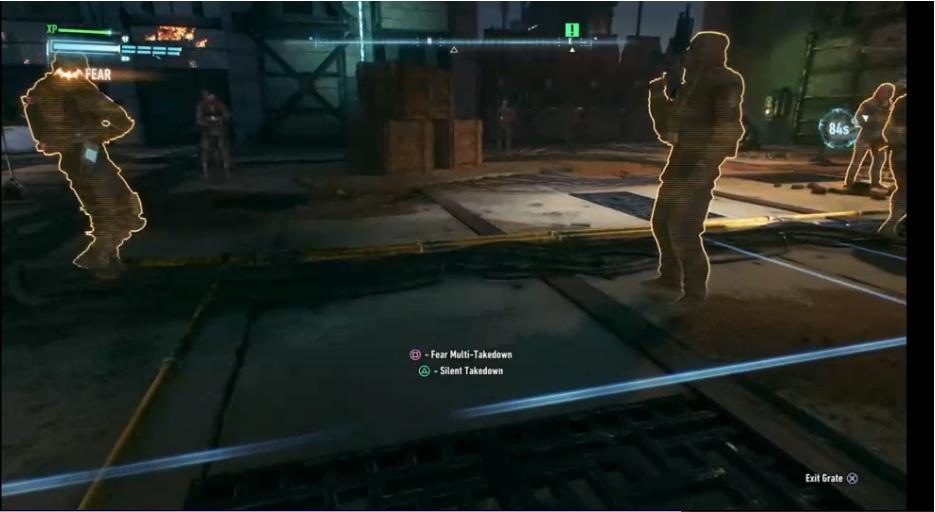 "An in-game screenshot of combat in ""Arkham Knight"""