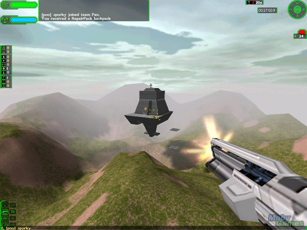 A screen shot from Starsiege: Tribes