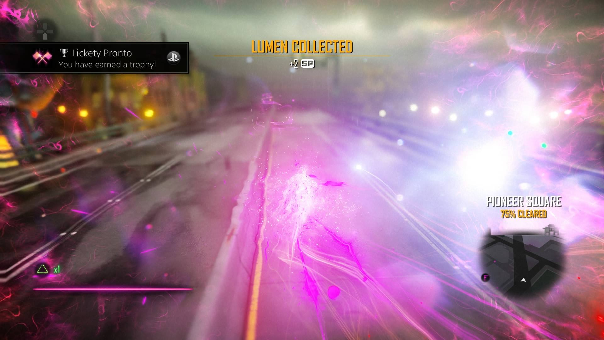 A screenshot from Infamous: First Light