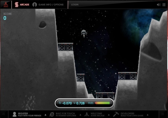 Gameplay screenshot of 'Lunar Lander' video game