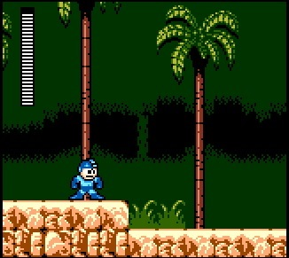 An in-game screenshot of Mega Man for the Sega Game Gear