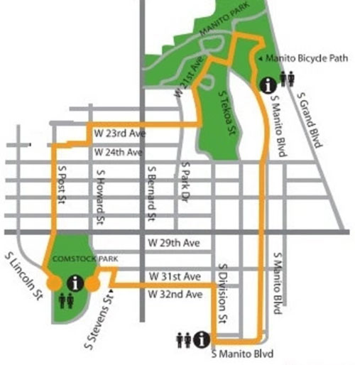 Spokane Summer Parkways map