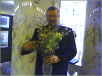 Jim Caswell with flowers